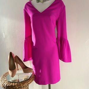Banana Republic hot pink bell sleeve midi dress